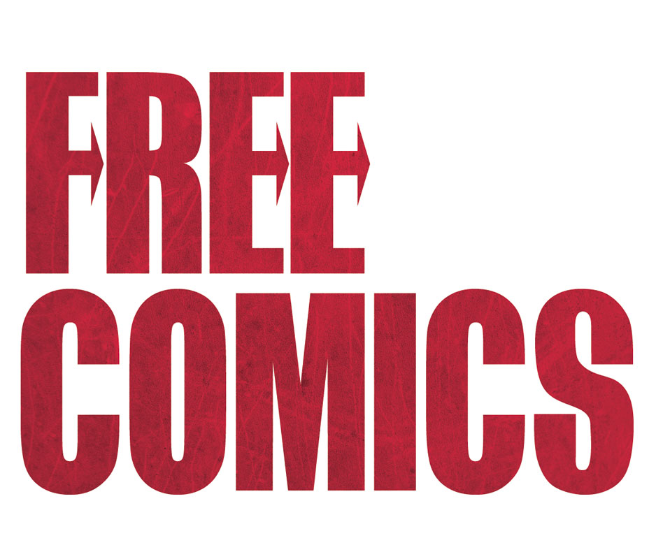 Free Comics logo design inspireret af tekst fra et plade-cover.