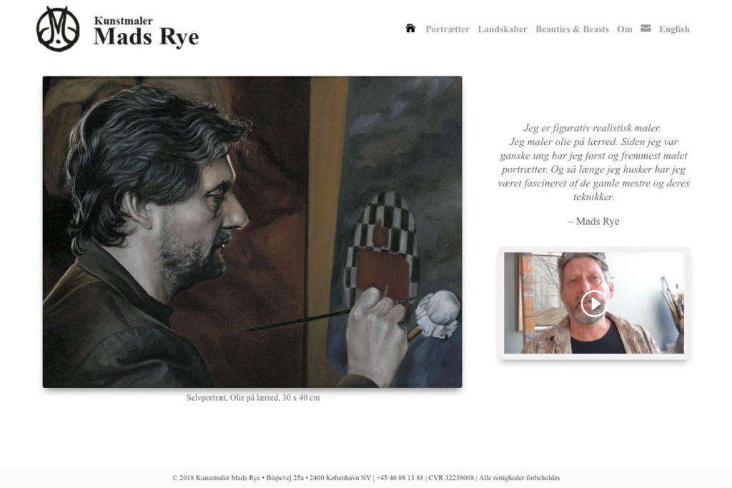 Web-design (WordPress) og undertekstning for Kunstmaler Mads Rye