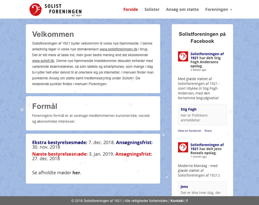 Web-design (WordPress) og grafik for Solistforeningen