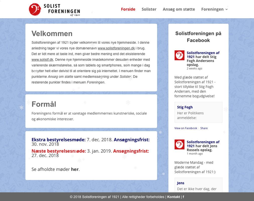 Web-design (WordPress) og grafik for Solistforeningen