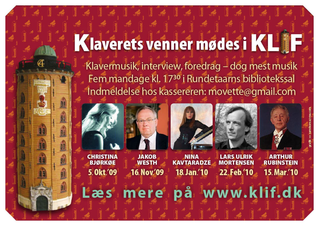 Design af plakat for musikforeningen KLIF (Klaverkoncert i rundetårn med foredrag)