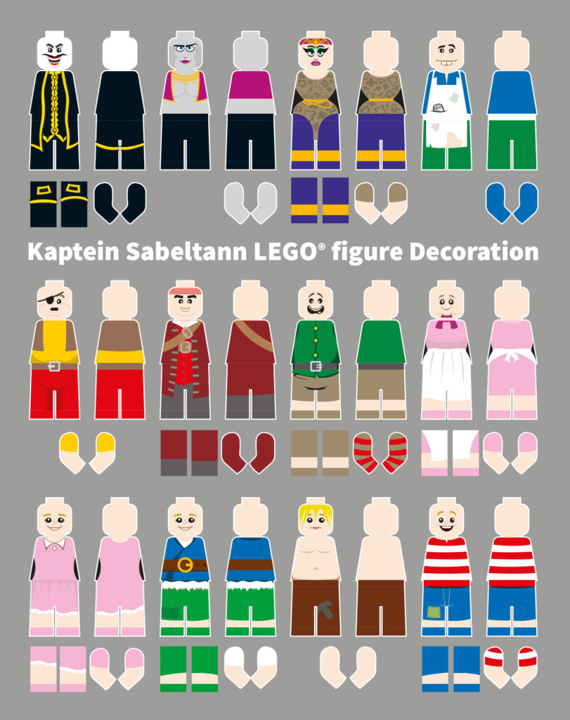 Illustration of LEGO® figure print decoration for Kaptein Sabeltann model project.