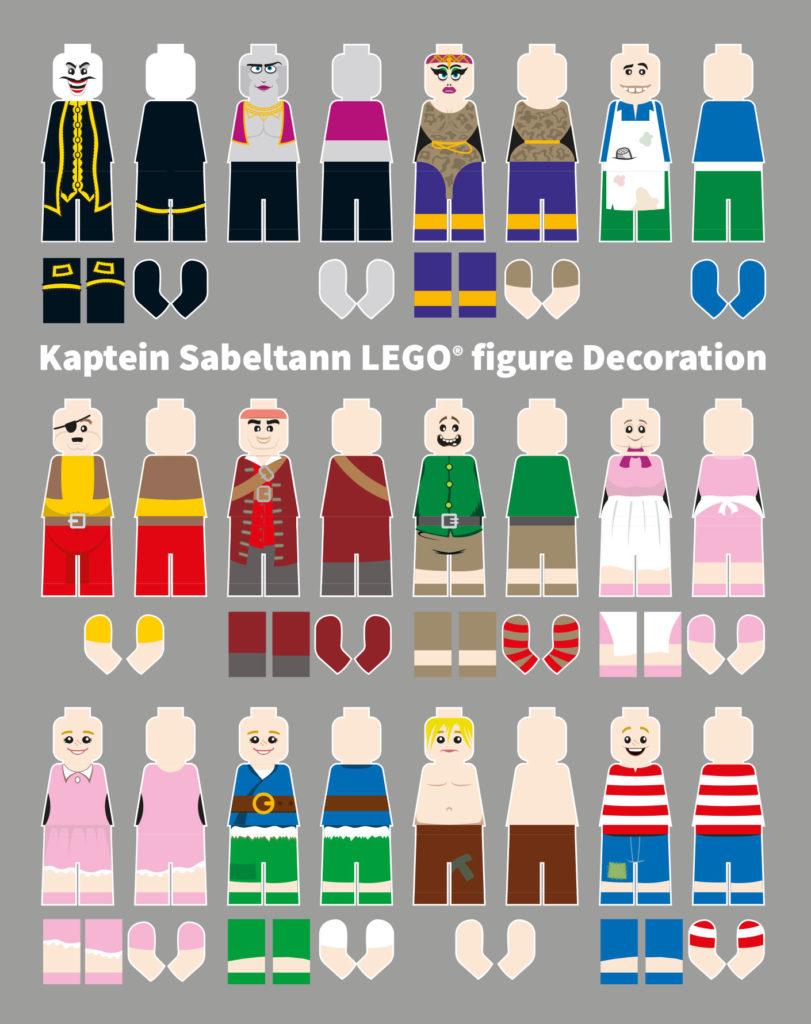 Illustration of LEGO® figure print decoration for Kaptein Sabeltann model project.
